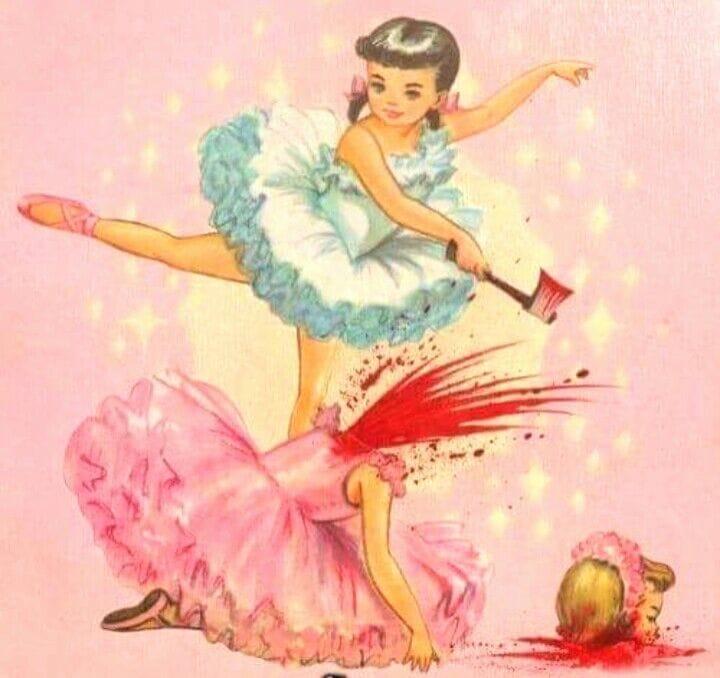 Karikatur mit Mädchen gegen Stierkampf