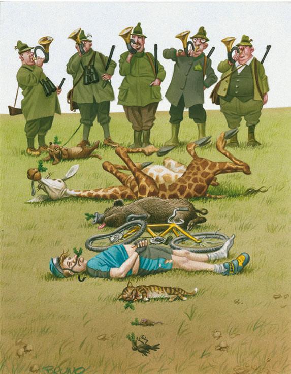 bruno-haberzettl_karikatur-jagdunfall