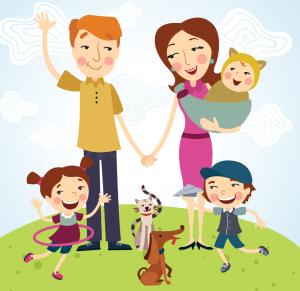 Falimie mit drei Kinder