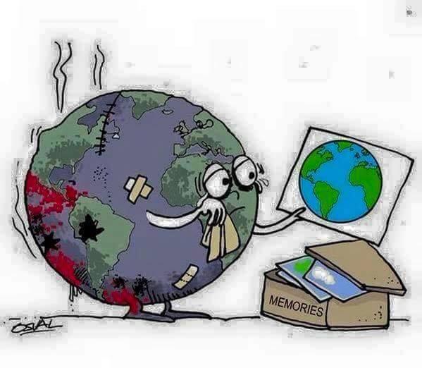 Karikatur mit zerstörtem Planet_n