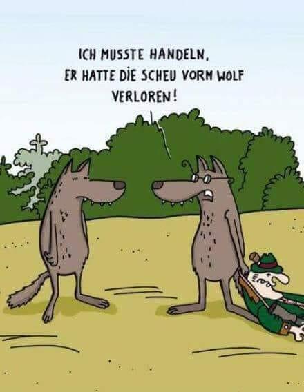 Schöne Karikatur mit Jäger getötet von Wolf n