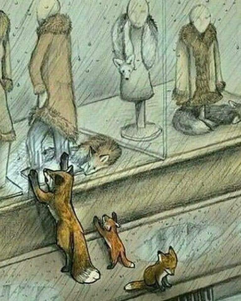 Karikatur mit Füchsleine über Pelzg