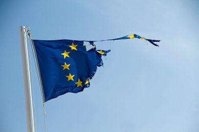 zerissene EU-Flagge am Stock