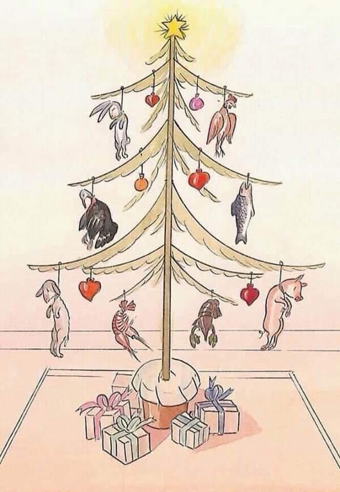 Christbaum mit Leichen als Dekoration