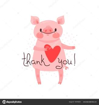 Illustration with joyful piggy who says - thank you. For design of funny avatars, posters and cards. Cute animal in vector