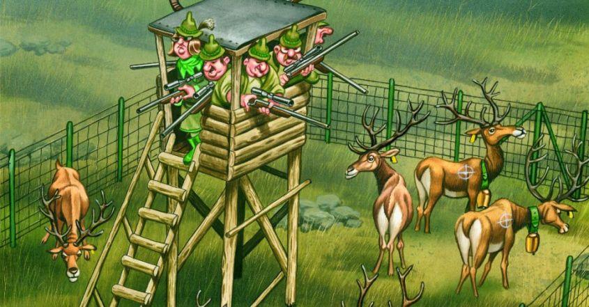 Jäger auf Hochsitz mit Gattertierefb