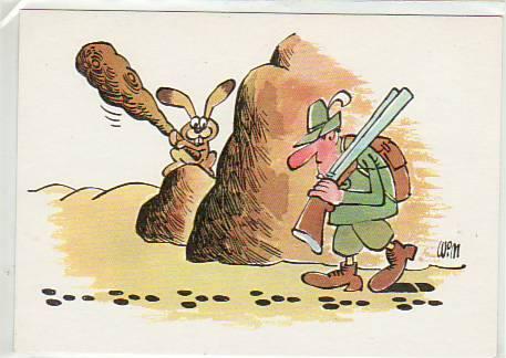 Hase mit Stock gegen Jäger