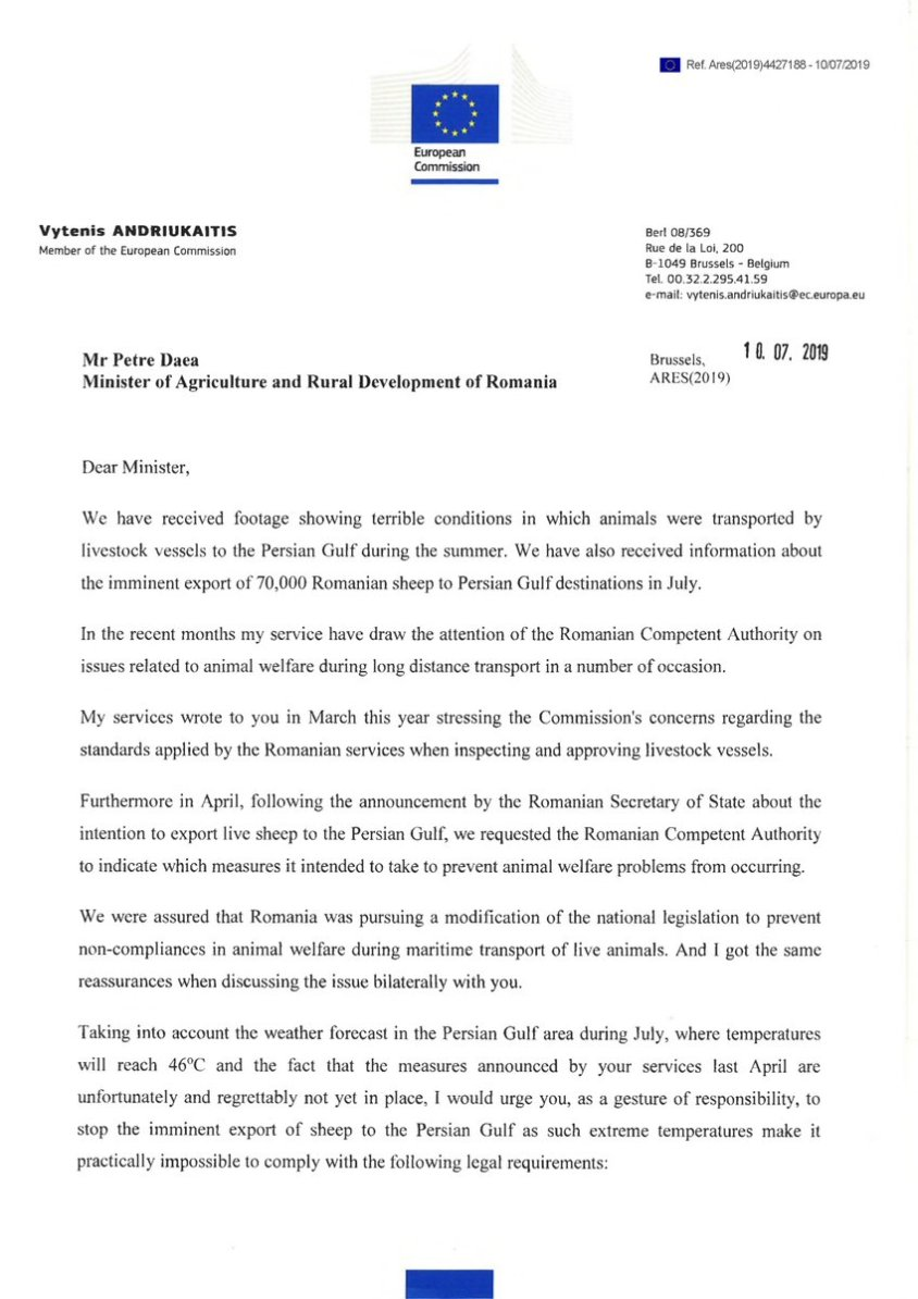 Comm letter to Romania 1
