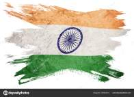 Grunge India flag. India flag with grunge texture. Brush stroke.