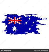 Australian flag painted by brush hand paints. Art Aussie flag. Watercolor flag. Australia art vector flag.