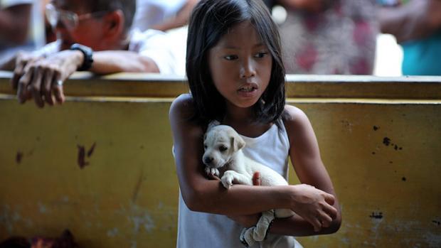 kleines Mädchen mit Hund