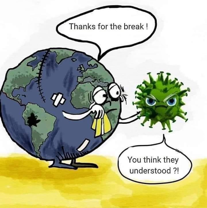 corona-erde und virus karikaturpg